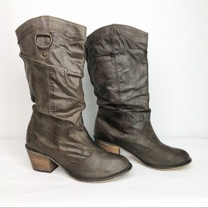 Steve Madden Gammbble Brown Leather Boots 10